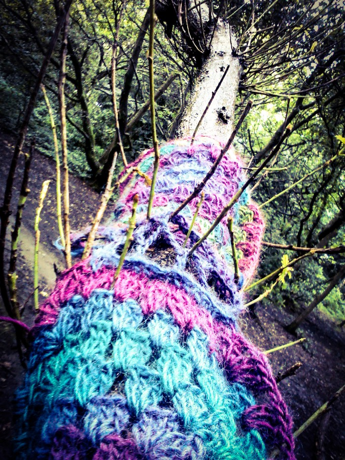 crochetted wool in tree