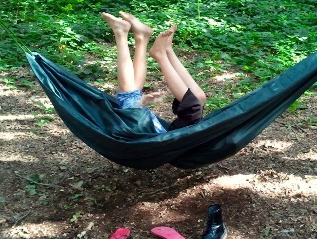 four legs in hammock