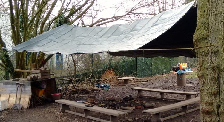 a shelter made from 2 6 metre tarps